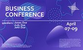 Business Conference Design Template. 3d Background. Colorful Elements. Announcement Conference. Abst poster