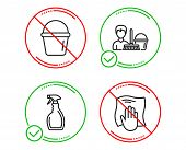 Do Or Stop. Spray, Cleaning Service And Bucket Icons Simple Set. Washing Cloth Sign. Washing Cleanse poster