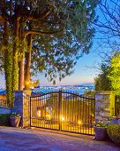 Entrance of a luxury house with fantastic ocean view at dusk in Vancouver, Canada.