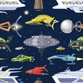 Spaceship Vector Spacecraft Or Rocket And Spacy Ufo Illustration Set Of Spaced Ship Or Rocketship In poster