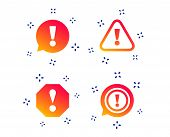 Attention Icons. Exclamation Speech Bubble Symbols. Caution Signs. Random Dynamic Shapes. Gradient A poster