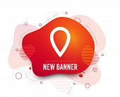 Fluid Badge. Map Pointer Sign Icon. Location Marker Symbol. Abstract Shape. Gradient Map Pointer Ico poster