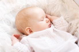 pic of sleeping baby  - cute little baby sleeping in the cradle - JPG