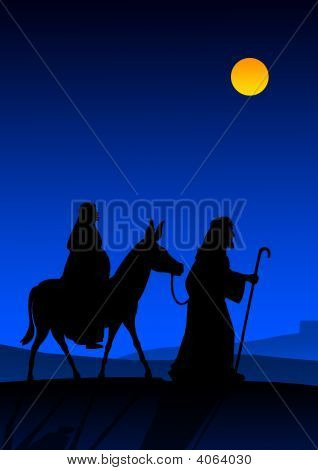Picture or Photo of Joseph and Mary with donkey on the way to Bethlehem