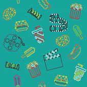 seamless vector retro stroke pixel game movies pattern