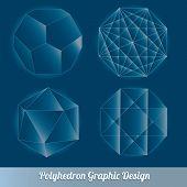 Set vector polyhedron for graphic design element