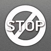 Forbidden Sign And Word Stop On Asphalt Road Background
