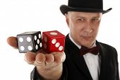 foto of gambler  - Gambler with dice - JPG