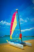 Sailboat At The Ocean Coast, Saint Lucia, Caribbean Islands