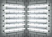 Fluorescent Lamp Tubes On Brick Wall. 3D Illustration