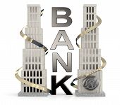 Bank Building. 3D Concept On White Background