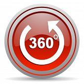 icono brillante de 360 grados panorama rojo sobre fondo blanco