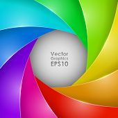 Abstract colorful photo shutter aperture vector background with copy space.