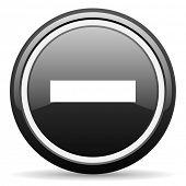 minus black glossy icon on white background