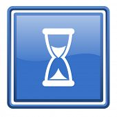 time blue glossy square web icon isolated