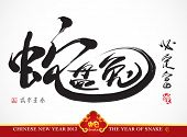 Snake Calligraphy, Chinese New Year 2013 Translation: Chinese Idiom, Snake Winds Rabbit, Metaphorical Means Perfect Marriage Brought Plentiful of Wealthiness and Happiness