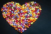 Colorful Glazed Sunflower Seed Candies Heart
