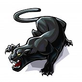 stock photo of panther  - Aggressively stylized panther in the attacking pose - JPG