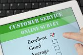 Customer service on-line survey on screen