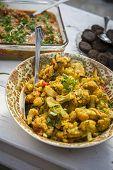 Fried, Indian Vegetables In Ceramic Bowl
