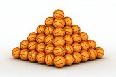 Stack Of Piled Up Basketball Balls