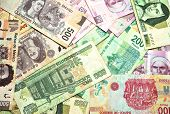 stock photo of pesos  - Mexican Currency bills and coins - JPG