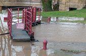 River Lock Underflood And Pedestrian Walkway