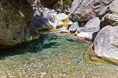 picture of samaria  - Mountain creek thru the rocky soil of Samaria gorge - JPG