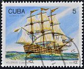 CUBA - alrededor de 1989: Un sello impreso en Cuba muestra imagen de los cubanos que vela El Rayo alrededor de 1989
