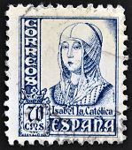 A stamp printed in Spain shows image of Isabella I of Castile former Queen of Castile and Leon