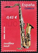 SPAIN - CIRCA 2010: A stamp printed in Spain shows tenor saxophonecirca 2010