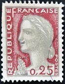 FRANCE - CIRCA 1960: A stamp printed in France shows Marianne type Decaris circa 1960.