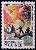 GUINEA - CIRCA 1979: A stamp printed in Guinea shows Jules Verne story Children of Captain Grant