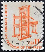 UNITED STATES OF AMERICA - CIRCA 1975: a stamp printed in USA shows Early American Printing Press