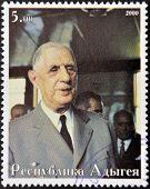 ABKHAZIA - CIRCA 2000 : Stamp printed in Abkhazia shows portrait Charles De Gaulle circa 2000