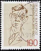 stamp printed in Germany shows to Rudolf Friedrich Wilhelm Ditzen ( Hans Fallada)