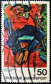 GERMANY- CIRCA 1974: stamp printed in Germany shows Pechstein Asleep by Erich Heckel circa 1974