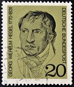 A stamp printed in Germany showing portrait of German philosopher Georg Wilhelm Friedrich Hegel