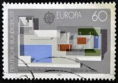 A stamp printed in Germany shows the German Pavilion designed by Ludwig Mies van der Rohe