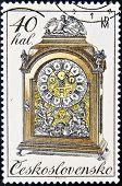 Tschechoslowakei ca. 1979: eine Briefmarke gedruckt in der Tschechoslowakei zeigt Mantel Uhr ca. 1979