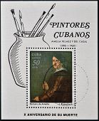 A stamp printed in Cuba shows image of artist L.Romanach