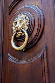 Cabeza de León de bronce en forma de asa de la puerta