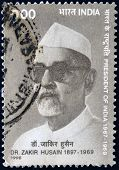 INDIA - CIRCA 1998: A stamp printed in India shows Zakir Hussain president of India 1967 - 1969