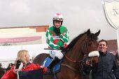 Sam Thomas Competes At Newbury Racecourse