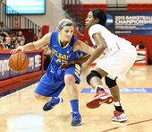 JAMAICA, NY-JAN 2: Delaware Blue Hens guard Lauren Carra (22) dribbles around St. John's Red Storm a