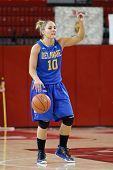 JAMAICA, NY-JAN 2: Delaware Blue Hens guard Kayla Miller (10) gestures on the court against the St.