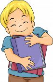 Illustration of a Happy Boy Hugging Large Books