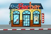 Illustration of barber shop on road