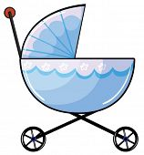 Illustration of a baby pram on a white background
