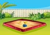 Illustration of  a sandbox in a beautiful garden